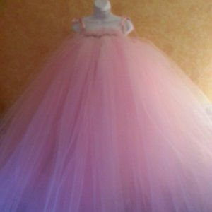 Pink Backless A-Line Tutu Babydoll Bridal Ballgown